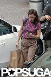 Jennifer Garner wore a striped shirt and khakis to film.