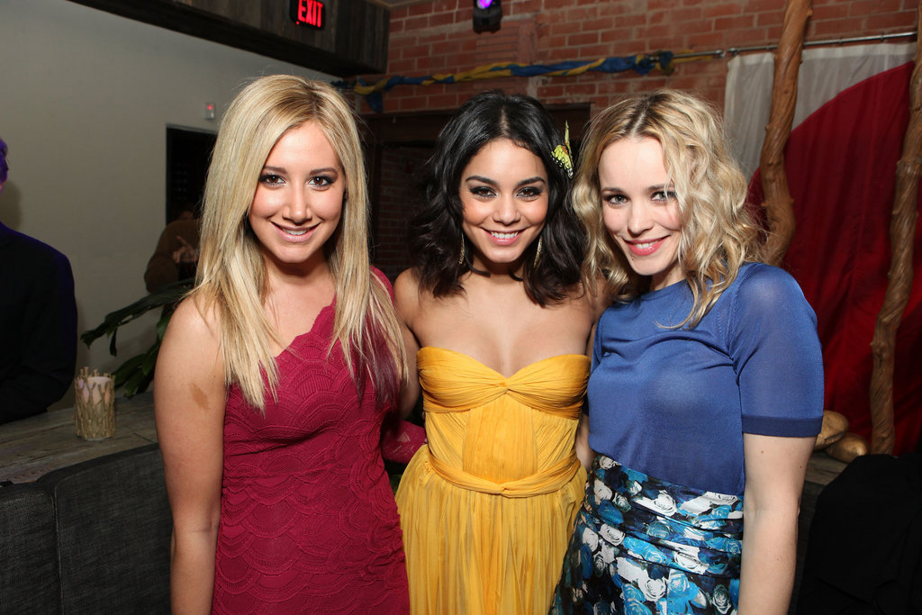 Rachel McAdams happily posed with Vanessa Hudgens and Ashley Tisdale at the February 2012 LA afterparty for Journey 2: The Mysterious Island.