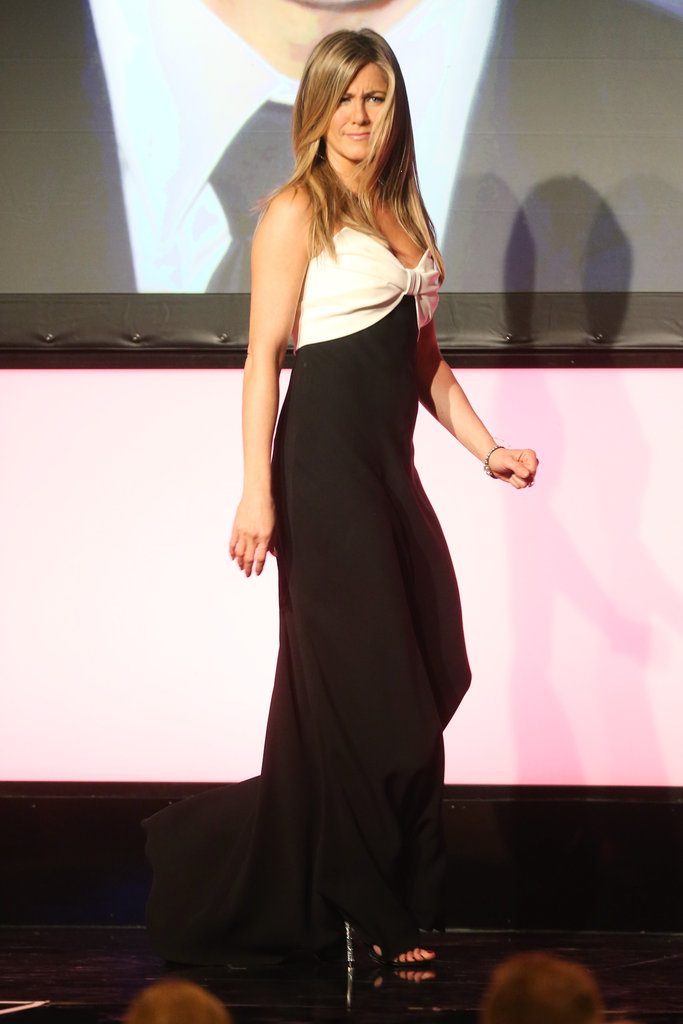 Jennifer Aniston wore a black and white gown for the event.