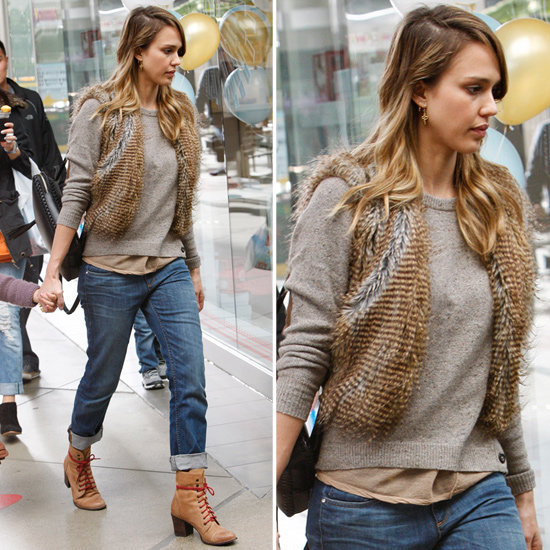 Channel Jessica Alba's Fall style with a faux-fur vest.