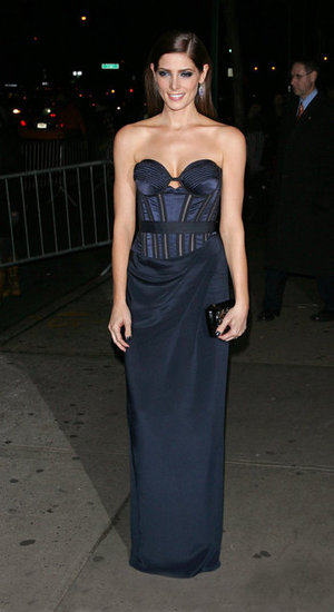 Ashley Greene showed off her shape in a slim-fit Donna Karan Atelier strapless in a moody navy hue.