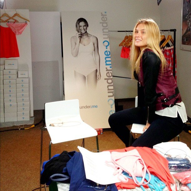 Bar Refaeli hung around with a poster from her underwear campaign. Source: Instagram user barrefaeli
