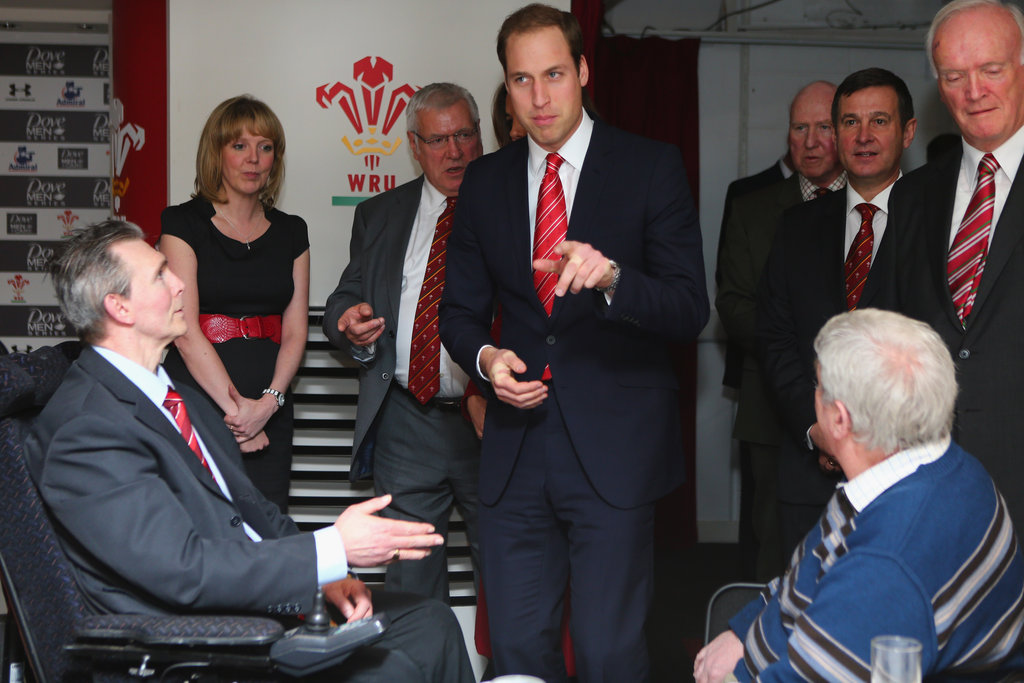 Prince William spoke before a rugby match in Cardiff.