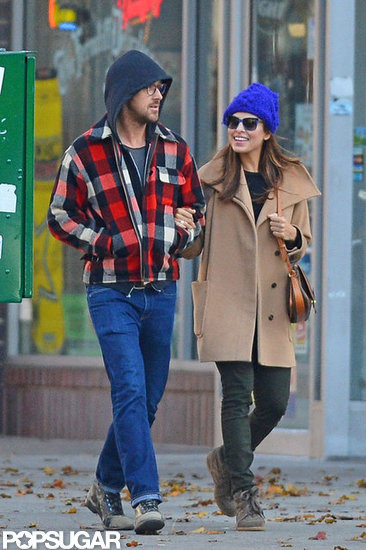 Ryan Gosling and Eva Mendes showed PDA in NYC.