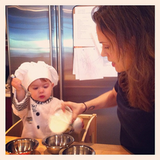 Alyssa Milano had a little helper in the kitchen on Thanksgiving. Source: Instagram user milano_alyssa