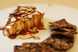 Brie With Caramel and Sliced Almonds