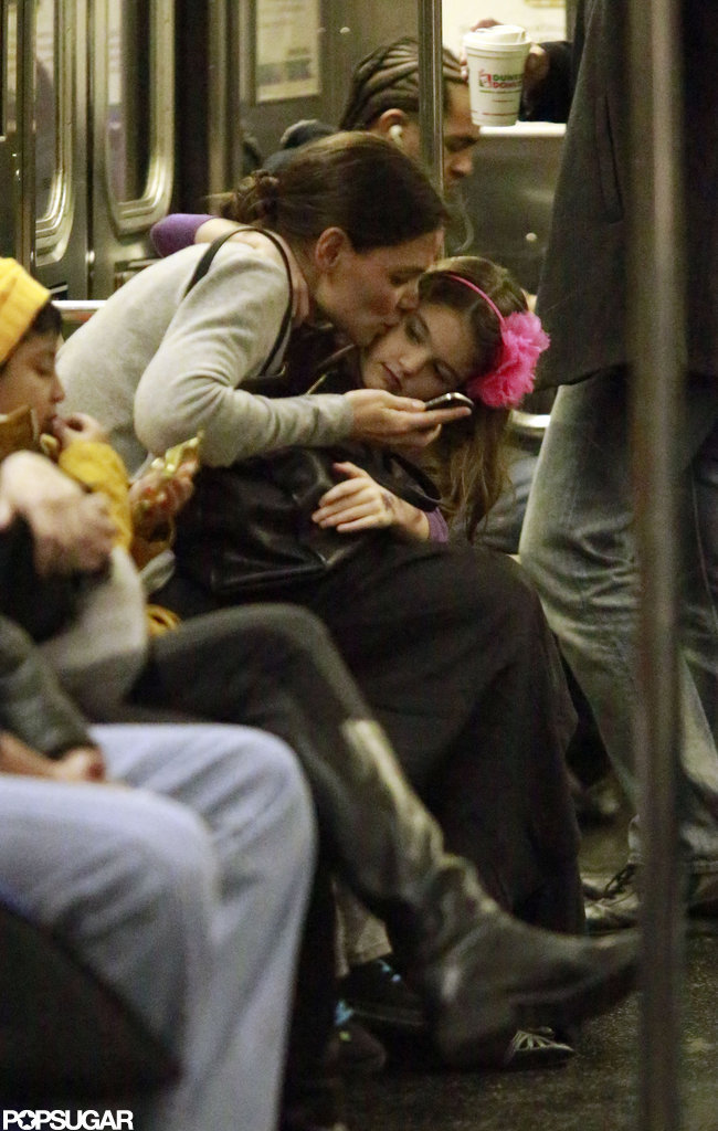 Katie Holmes Gives Suri Cruise a Kiss on the Subway
