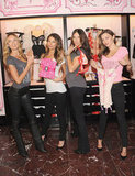Miranda Kerr, Lily Aldridge, Adriana Lima, and Candice Swanepoel showed off their holiday picks at Victoria's Secret Herald Square in NYC.