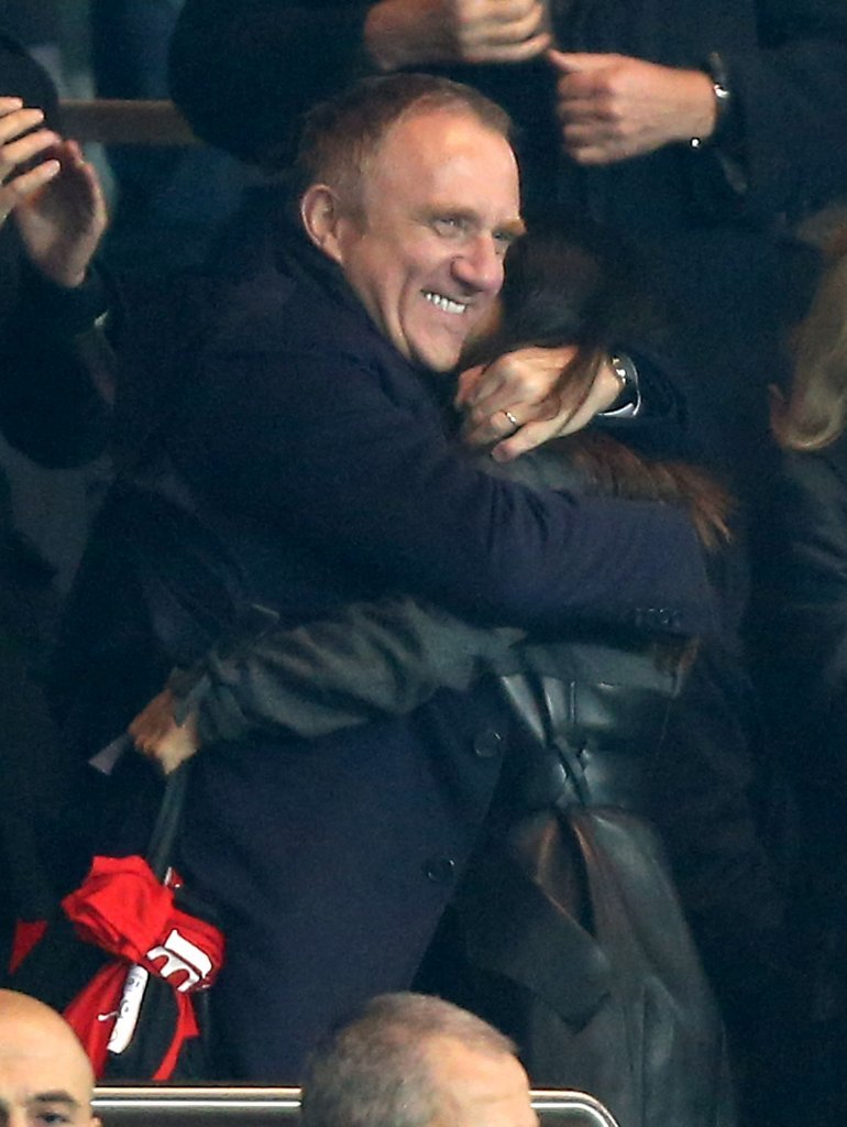 Salma Hayek and Francois-Henri Pinault hugged during the game.