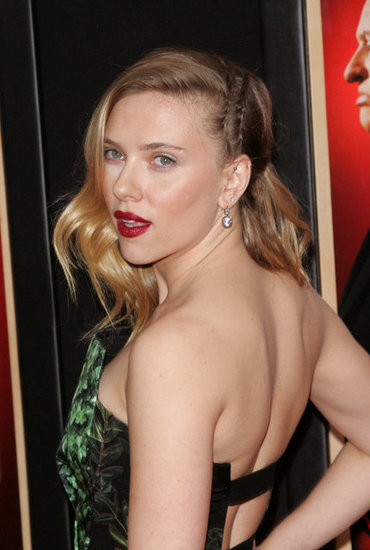 Scarlett Johansson wore a strapless dress for the NYC premiere of Hitchcock.