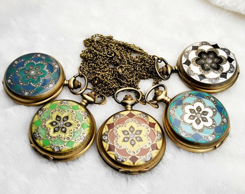 Vintage Flower Rhinestone Pocket Watch