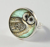 Vintage Barn Owl Resin Ring