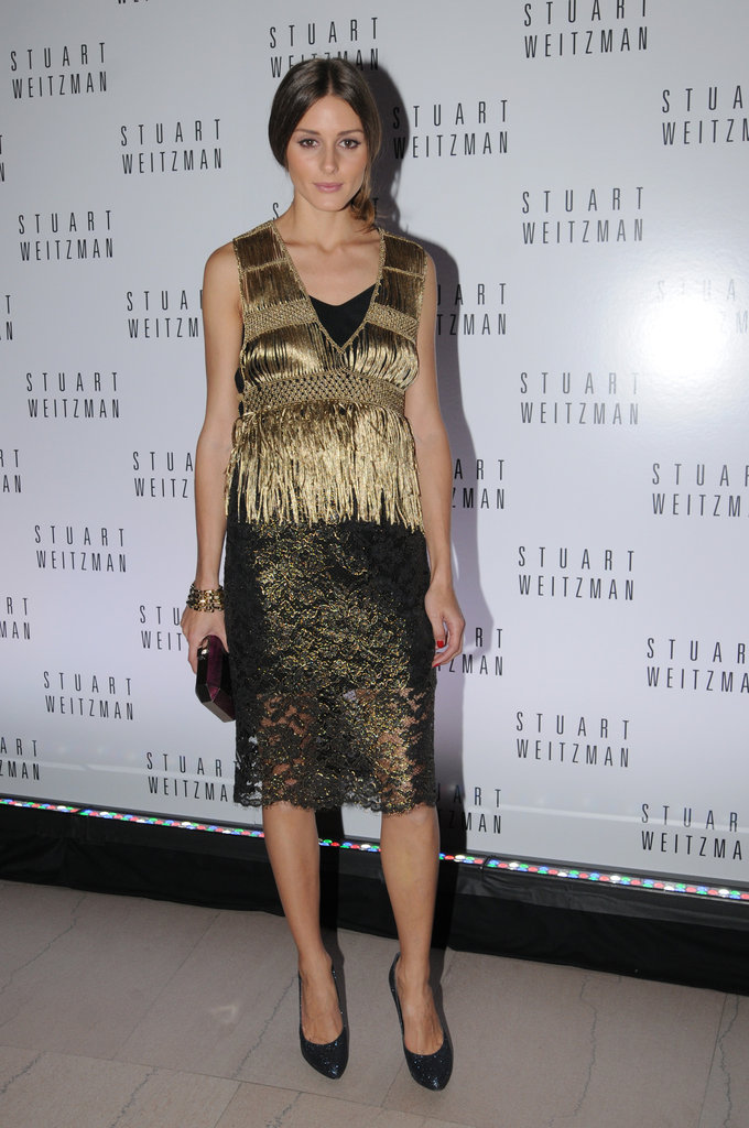 Olivia Palermo has never failed us on the styling front. Case in point: this gold lace skirt by Tibi is the perfect piece for holiday parties, as worn here with a Bird by Juicy Couture fringe top.