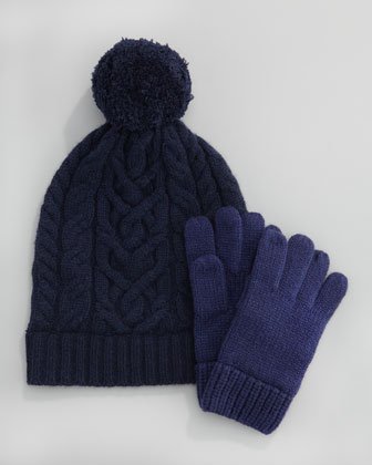 Cashmere Cable Knit Hat and Mittens
