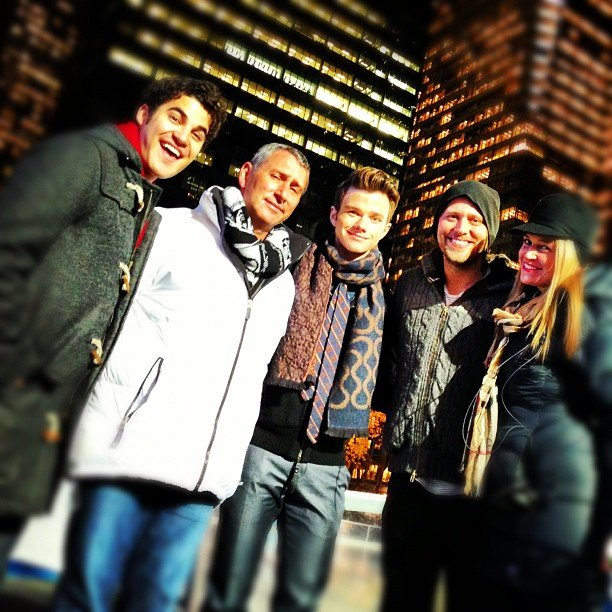 Darren Criss, Adam Shankman, and Chris Colfer took a break with the crew. Source: Instagram user adamshankman