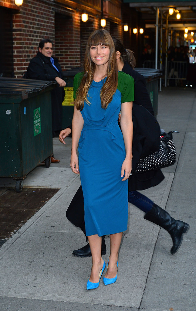 Jessica Biel posed for photos outside The Late Show in NYC.