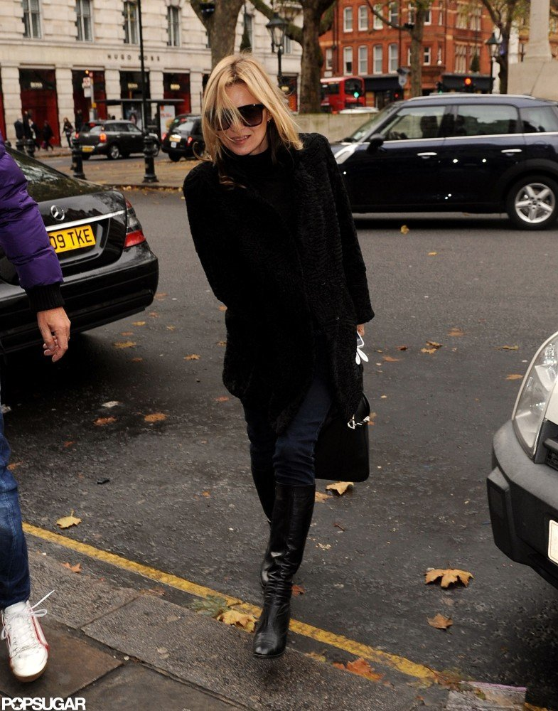 Kate Moss made her way to a cafe in Chelsea, London.