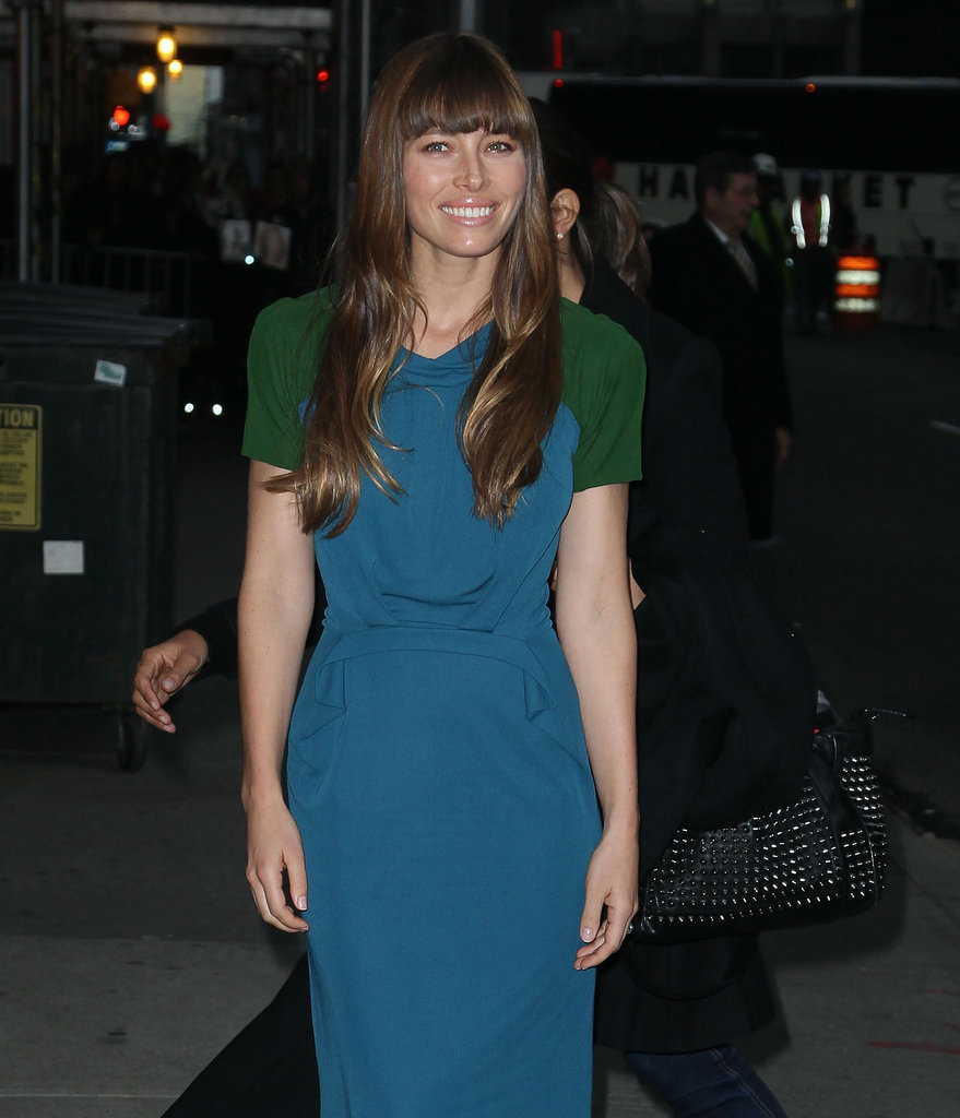 Jessica Biel stepped out in a two-toned dress in NYC