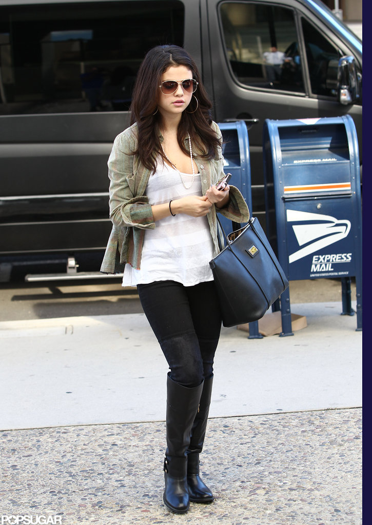Selena Gomez wore black boots in LA.