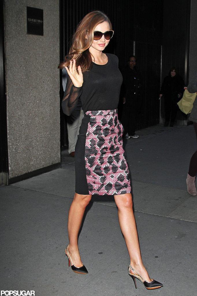 Miranda Kerr gave a wave.