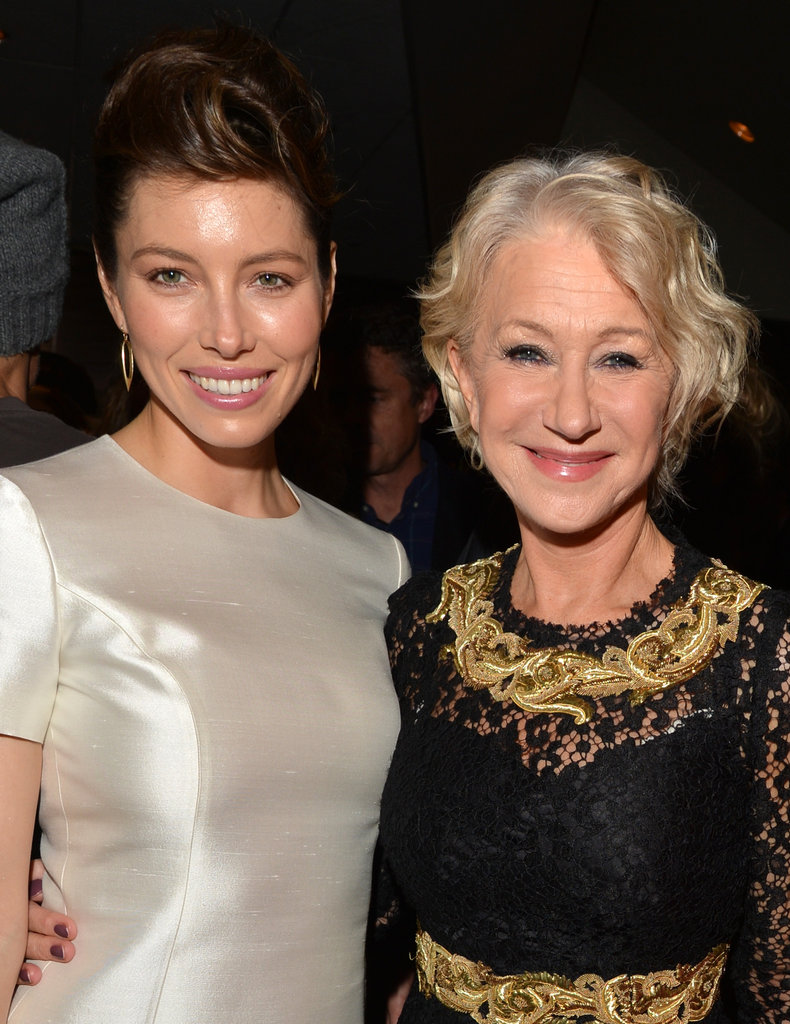 Jessica Biel and Helen Mirren linked up at the afterparty.