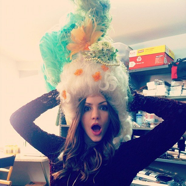 Katharine McPhee joked around with a funny hat in November. Source: Instagram user katherinemcphee