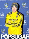 David Beckham posed for photos in an LA Galaxy shirt.