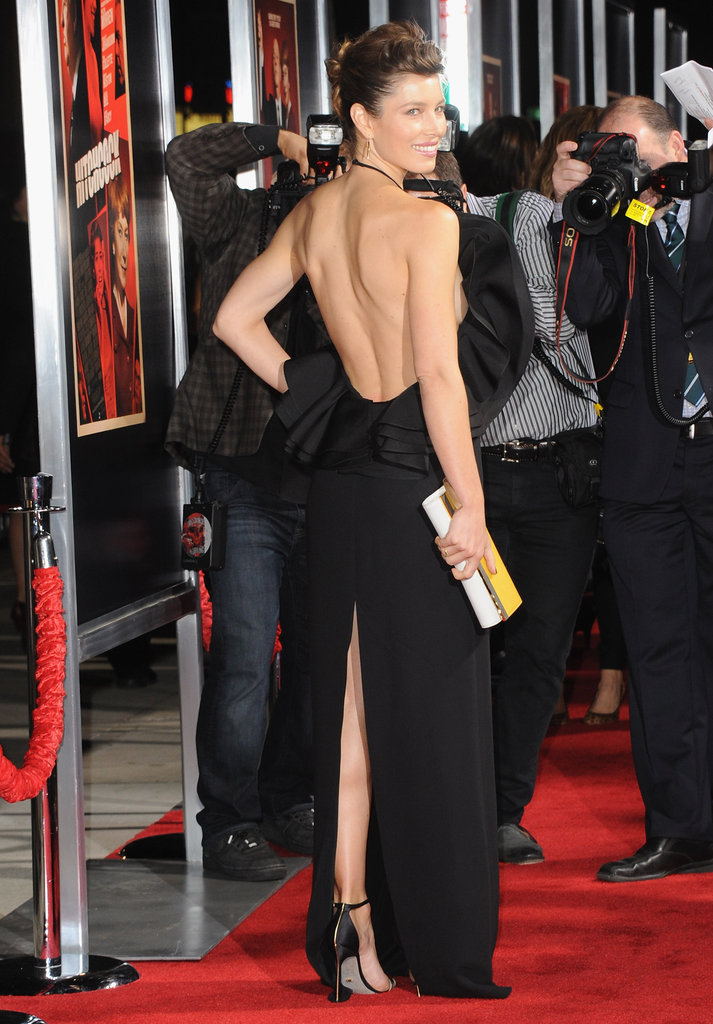 Jessica Biel wore a black backless Gucci dress for the Hitchcock premiere in LA.