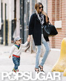 Miranda Kerr brought along son Flynn Bloom to run errands in NYC.