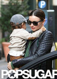 Flynn Bloom held his arms around his mom Miranda Kerr in NYC.