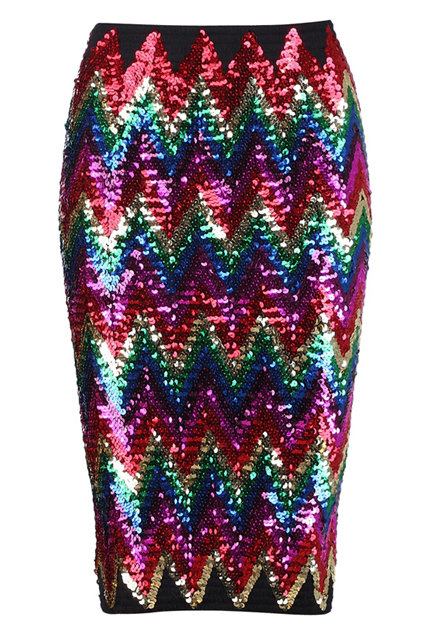 Dazzle at your cocktail function with this Romwe Colored Sequin Skirt ($49, originally $52).