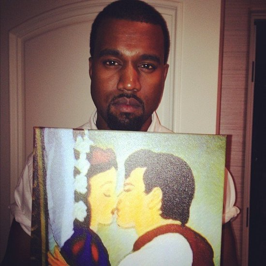 Kanye West was with girlfriend Kim Kardashian and her family — and a picture of Snow White.  Source: Instagram user krisjenner