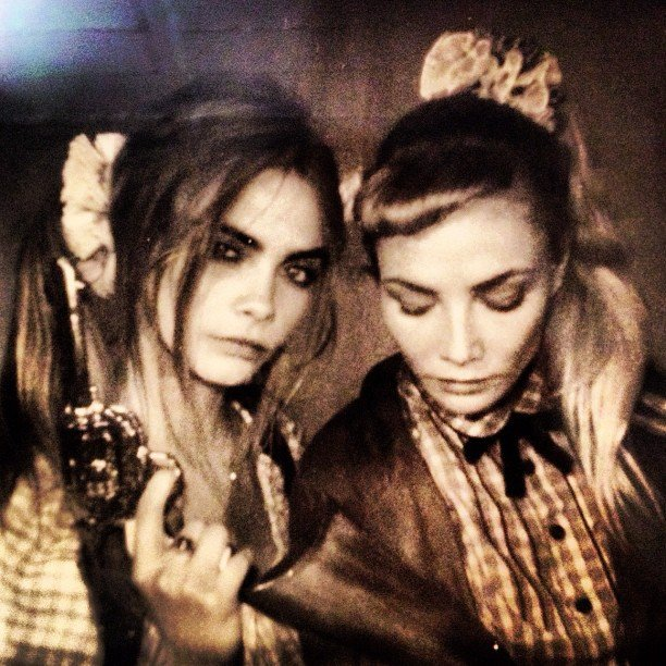Cara Delevingne and pal almost convinced us that scrunchies are cool again. Source: Instagram user caradelevingne