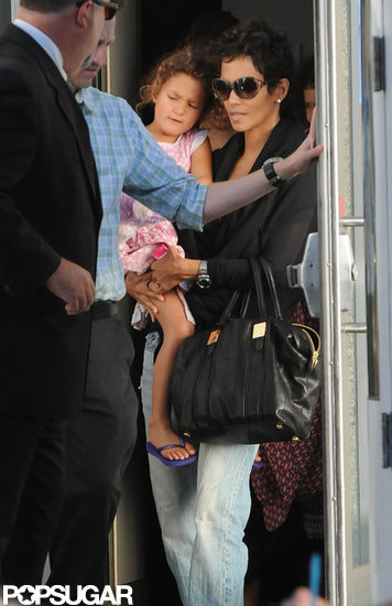 Halle Berry carried Nahla Aubry into the Yo Gabba Gabba show in LA.