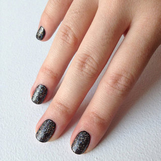 DIY Black Manicure With a Silver Glitter Topcoat