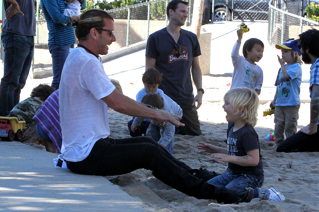 Gavin Rossdale played with Zuma Rossdale at the park.
