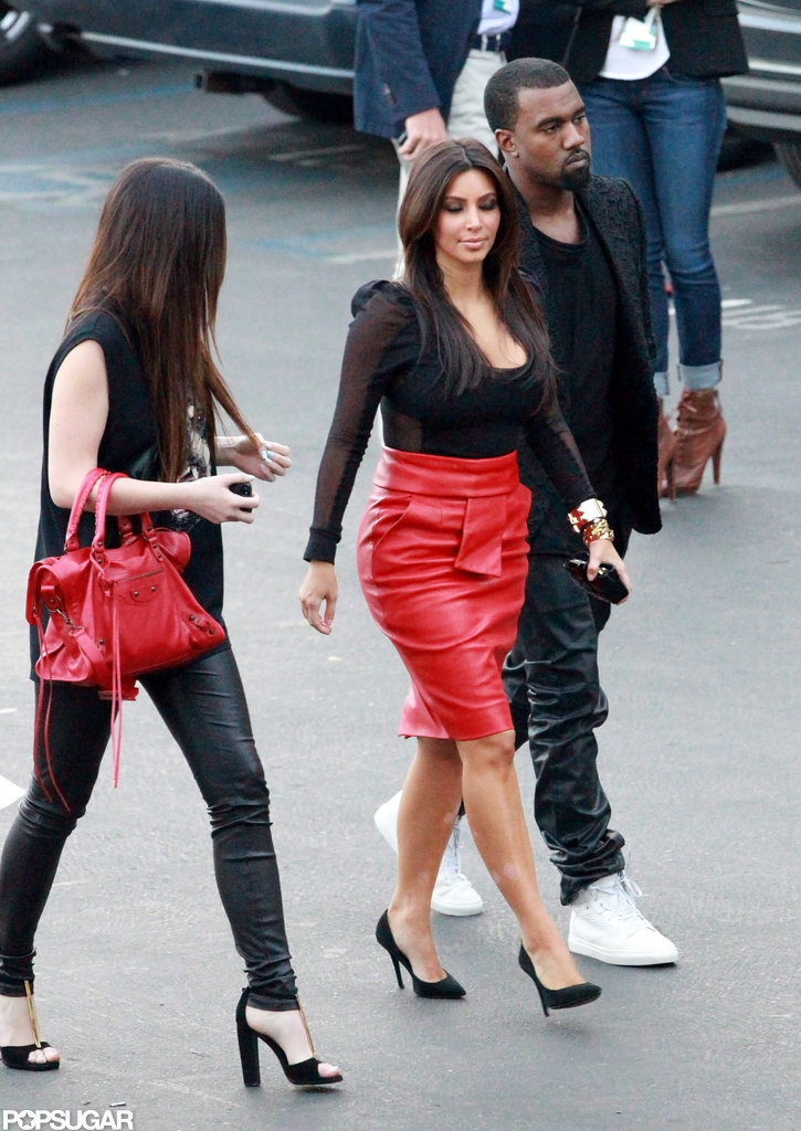 Kim Kardashian and Kanye West walked side by side.