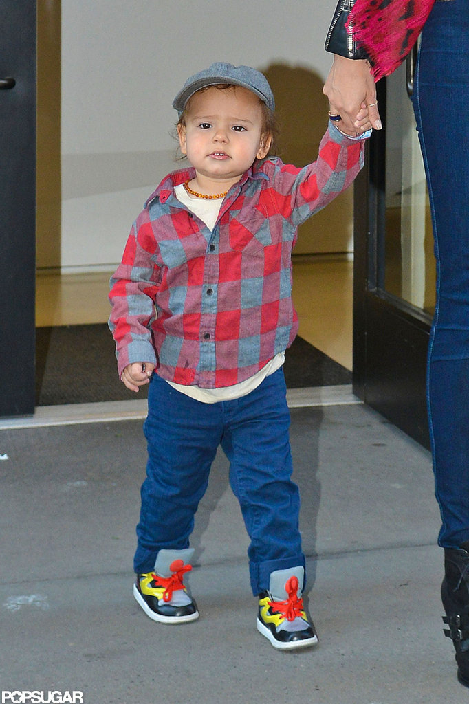 Flynn Bloom looked adorable in a plaid shirt.