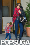 Miranda Kerr and Flynn Bloom strolled out into the city.