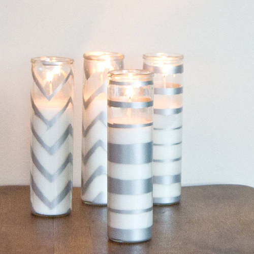DIY Sparkling Spray-Painted Candles