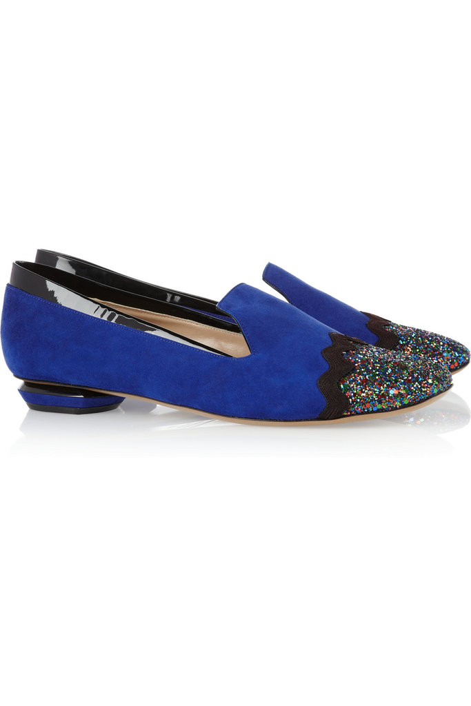 We love the idea of pairing these Nicholas Kirkwood glitter-finished suede loafers ($895) with a pair of black matchstick pants to let their color — and sparkle — take center stage.