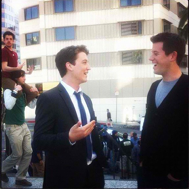 Christopher Mintz-Plasse photobombed Get a Job costar Miles Teller's interview with Ben Lyons. Source: Instagram user mintzplasse