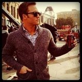 Scott Porter showed off his drink of choice on the set of Hart of Dixie. Source: Instagram user skittishkid