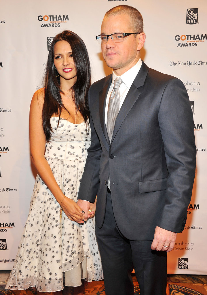 Matt Damon held hands with wife Luciana in NYC.