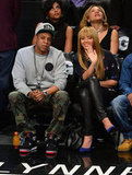 Jay-Z and Beyonce Knowles attended a basketball game in NYC.