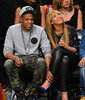 Beyonce Knowles and Jay-Z Watch the Knicks vs Nets Games