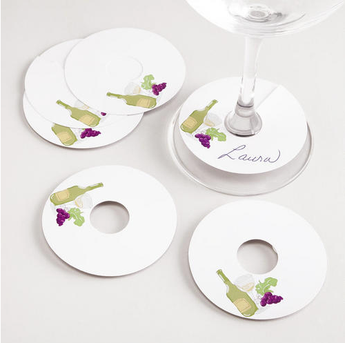 Hostess and guests will be happy you gifted these wine glass tags ($3) when they know exactly whose drink is whose.