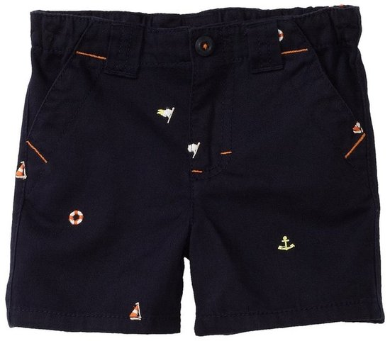 Hartstrings Embroidered Twill Flat Front Shorts