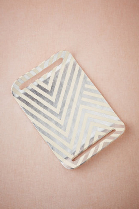Silver Leaf Chevron Tray