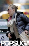 Scarlett Johansson kept warm in a jacket and scarf in NYC.